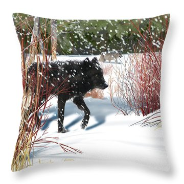 Wolves In The Willows Throw Pillow