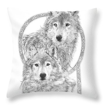 Canis Lupus II - Wolves - Mates For Life  Throw Pillow by Steven Paul Carlson