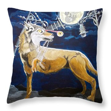 Throw Pillow featuring the painting Wolves Mouth  by Lazaro Hurtado