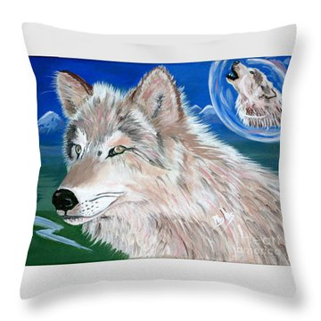 Throw Pillow featuring the painting Wolves by Phyllis Kaltenbach