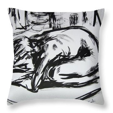 Woman Alone With Shadows Throw Pillow by Kendall Kessler