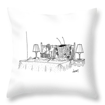 Woman And A Large Insect Read In Bed Throw Pillow