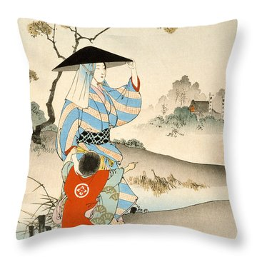Woman And Child  Throw Pillow by Ogata Gekko