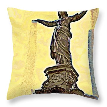 Woman And Flowing Water Sculpture At Fountain Square Throw Pillow by Kathy Barney