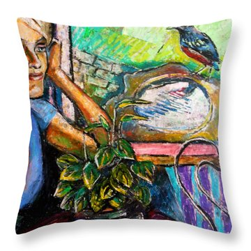 Woman And Robin Throw Pillow by Stan Esson