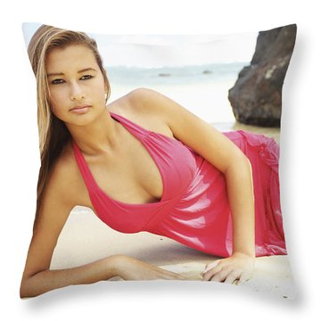 Woman At Anini Bay Throw Pillow by Kicka Witte