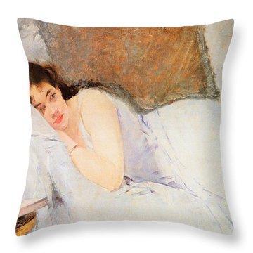 Woman Awakening Throw Pillow by Eva Gonzales
