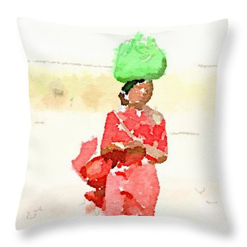 Woman Bag Throw Pillow