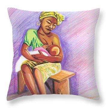 Woman Breastfeeding Bay In Rwanda Throw Pillow
