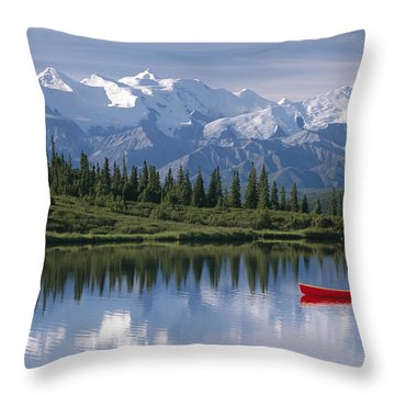 Woman Canoeing In Wonder Lake Alaska Throw Pillow by Michael DeYoung