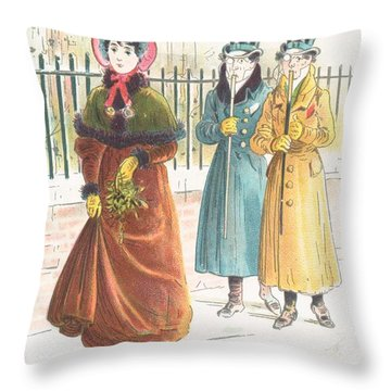 Woman Carrying Bunch Of Mistletoe Throw Pillow by English School