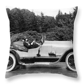 Woman Driving A Stutz Roadster Throw Pillow