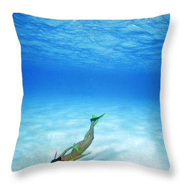 Woman Free Diving Throw Pillow by M Swiet Productions