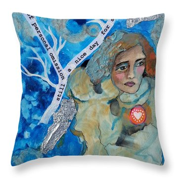 Woman Held For Ransom By Winter Throw Pillow