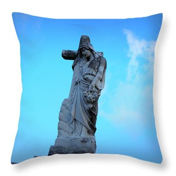 Woman Holding Cross Throw Pillow