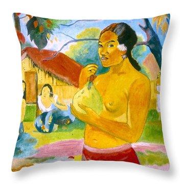 Woman Holding Fruit Throw Pillow