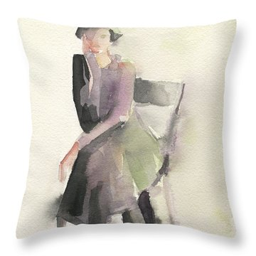Woman In A Cloche Hat Watercolor Fashion Illustration Art Print Throw Pillow