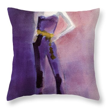 Woman In A Purple Jumpsuit Fashion Illustration Art Print Throw Pillow