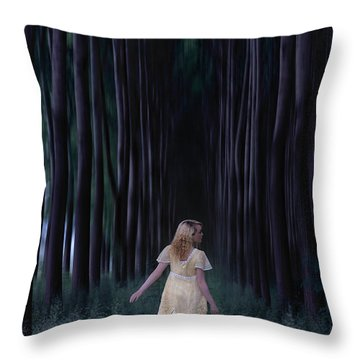 Woman In Forest Throw Pillow by Joana Kruse