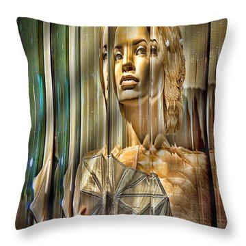 Woman In Glass Throw Pillow