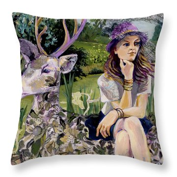 Woman In Hat Dreams With Stag Throw Pillow