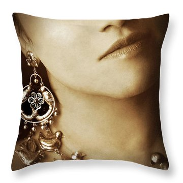 Woman In Mexican Silver Jewelry Throw Pillow