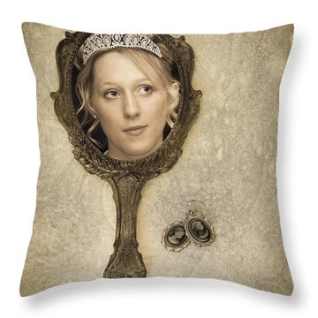 Woman In Mirror Throw Pillow by Amanda Elwell