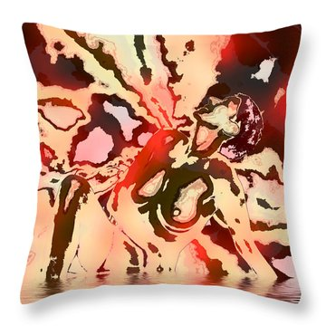 Woman In Red Throw Pillow by Kurt Van Wagner
