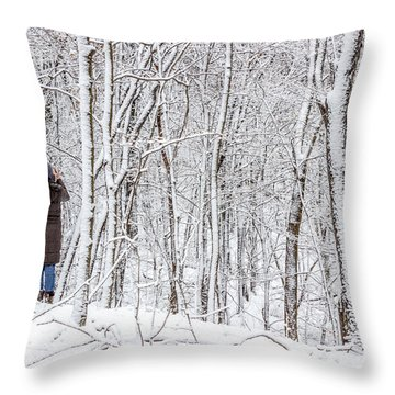 Woman In A Snow Covered Forest Throw Pillow