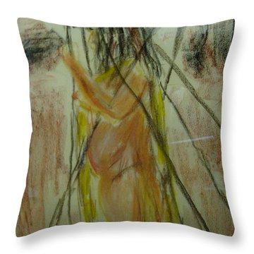 Woman In Sticks Throw Pillow