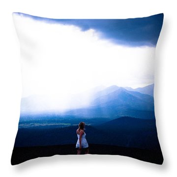 Woman In Storm Throw Pillow by Scott Sawyer