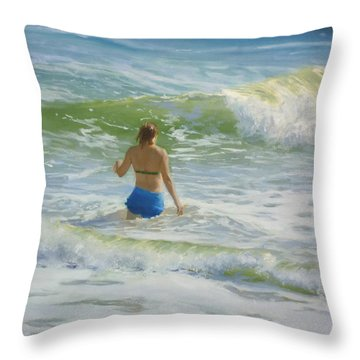 Woman In The Waves Throw Pillow