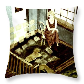 Woman In The Window Throw Pillow