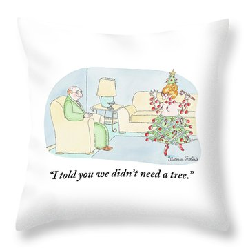Woman Is Dressed As A Christmas Tree Throw Pillow