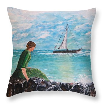 Woman Looking Out To Sea Throw Pillow