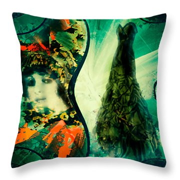 Green Mystery Montage Throw Pillow