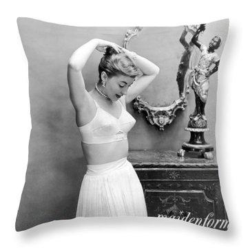 Woman Models Bullet Bra Throw Pillow