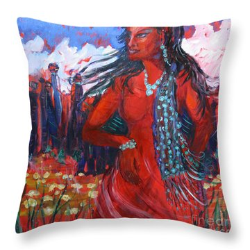 Woman Of The Whispering Wind Throw Pillow