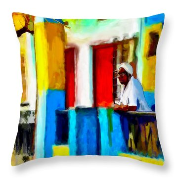 Woman On A Balcony Throw Pillow