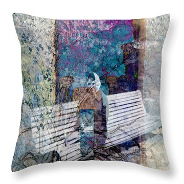 Throw Pillow featuring the digital art Woman On A Bench by Cathy Anderson