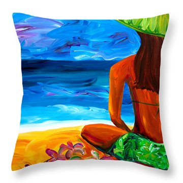 Woman On Beach Throw Pillow by Beth Cooper