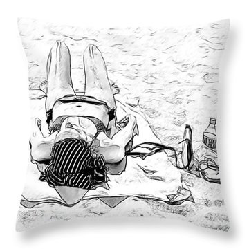 Woman On Beach Throw Pillow by Les Palenik