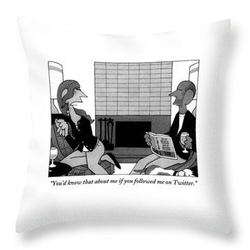 Woman On Couch Says To Man Who Is Reading Throw Pillow