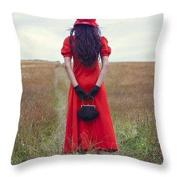 Woman On Field Throw Pillow by Joana Kruse