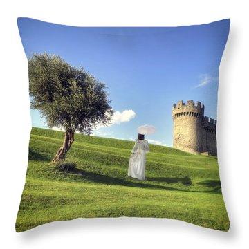 Woman On Meadow Throw Pillow by Joana Kruse