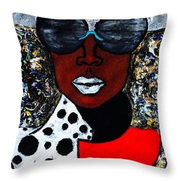 Throw Pillow featuring the painting Woman On The Go by Tarra Louis-Charles