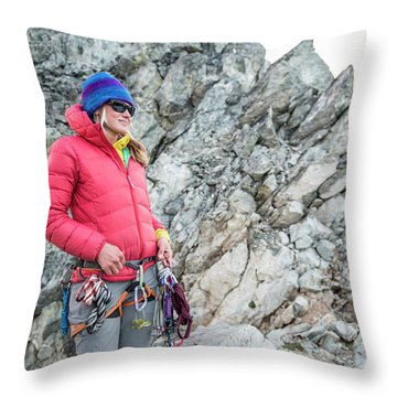 Woman On The North Ridge Of Forbidden Throw Pillow
