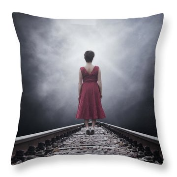 Woman On Tracks Throw Pillow by Joana Kruse