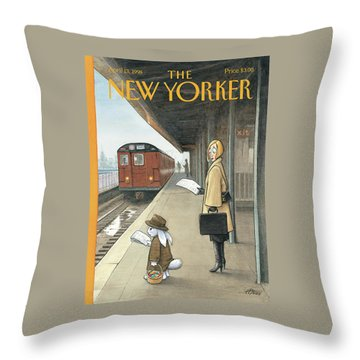 Woman On Train Platform Looking At Easter Bunny Throw Pillow