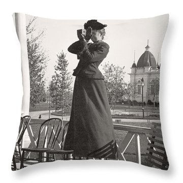Throw Pillow featuring the photograph Woman Photographer 1898 by Martin Konopacki Restoration
